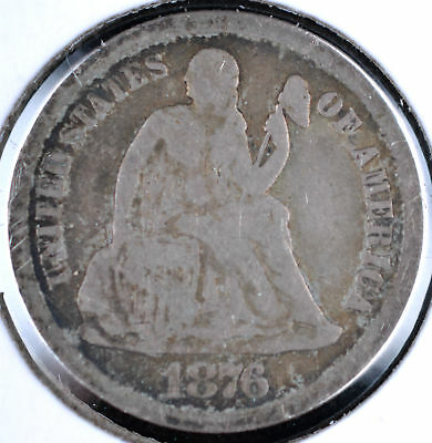 1876-Cc 10C Seated Liberty Dime - Vg+