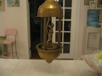 Beautiful Vintage Mineral Oil Rain Hanging Lamp With Greek Goddess Nude Lady
