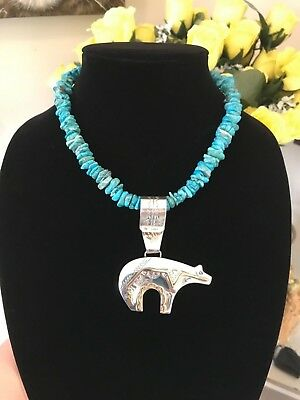 Vintage Artisan Handcrafted Necklace HEAVY Turquoise HUGE Sterling Silver Bear