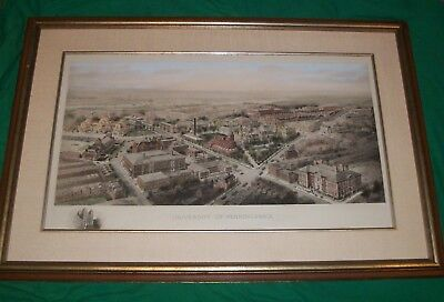 University Of Pennsylvania Hand Colored Lithograph Engraving Art Richard Rummell