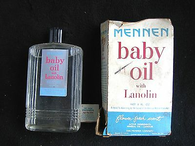 VTG MENNEN BABY OIL W LANOLIN - 90% Full BOTTLE & BOX - Flower Fresh Scent Retro