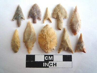 Neolithic Arrowheads x 10, High Quality Selection of Styles - 4000BC - (2126)
