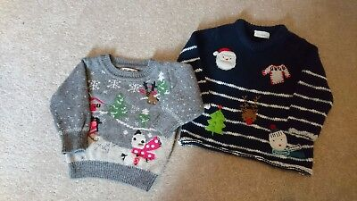 2 Baby Boys Next Christmas Jumpers 3-6months