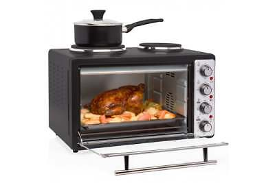 Kitchen Microwave Mini 33 Litre Oven Grill Double Hob 2In1 Hot Plates