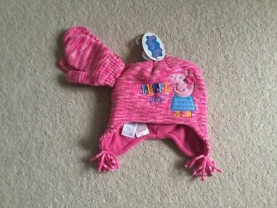 Girls 3-6 years Matching Pepper Pig Hat & Gloves new cost £13.00