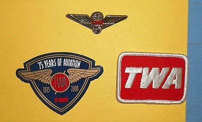 Twa Airlines Red Hat Cap Patch 75 Years Aviation Magnet Junior Pilot Wings Lot