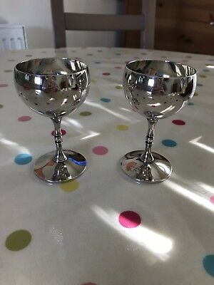 Pair of Vintage Valero Spanish Silver Plated Wine Goblets Cups