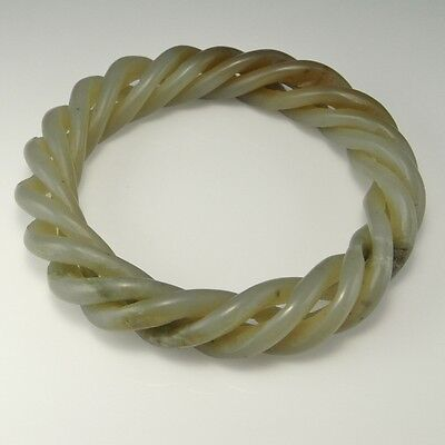 Antique Qing Dynasty Twist Celadon Nephrite Jade Bangle Bracelet Chinese Unisex