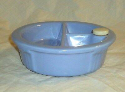 Vintage Hankscraft Blue Ceramic Baby Food Warming Dish w/ Cork & Ceramic Cap