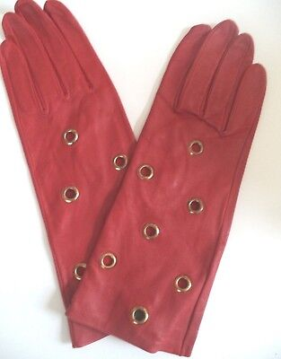 Unlined Brass Eyelet Genuine Leather Gloves, Large, RED