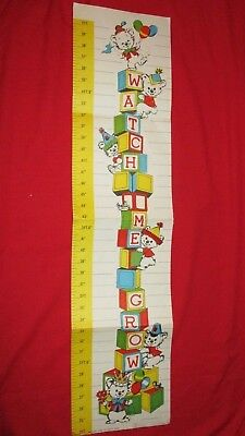 Vintage 1960s Paper Wall Growth Chart Teddy Bears & Alphabet Blocks; Unmarked