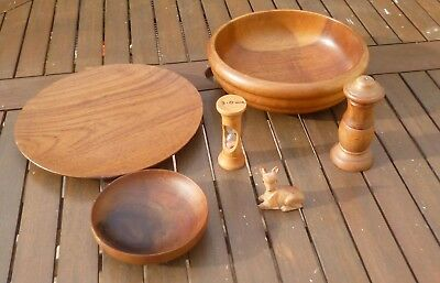 Joblot Collection of Gorgeous Vintage Wooden Treen-Fruit Bowl, Stand, Egg Timer
