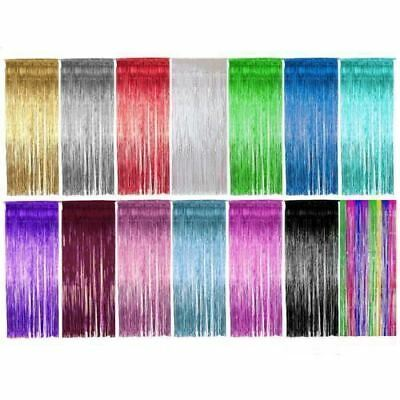 3M Backdrop Shimmer Foil Metallic Tinsel Glitter Curtain Fringe Window Party UK
