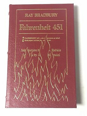 Fahrenheit 451 by Ray Bradbury, Easton Press Leather Bound Hard Cover! Unread!