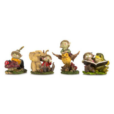 Fairy Garden Mini - Young Fairy Garden Pixies Playing with Animals – Set of 4