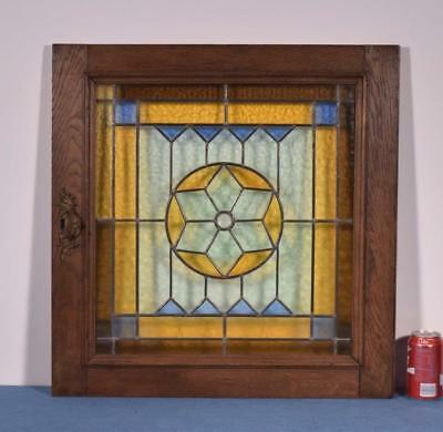 *Antique French Oak Door with Stained/Leaded Glass Panel