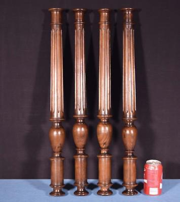 *Set of Four French Antique Solid Chestnut Posts/Pillars/Columns Salvage