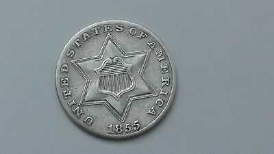 1855 3CS Three Cent Silver -Key Date  Only 139,000 MINTED
