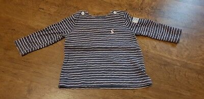 Joules 6-9 Month Denim Blue And Pink Striped Top