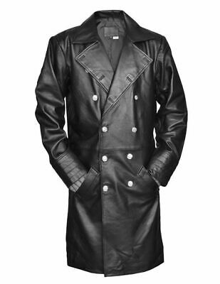 German Classic Officer WW2 Military Uniform Black Faux Leather Trench Coat