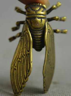 Collection Handwork Copper Carve Delicate cicadas Happiness Souvenir Rare Statue