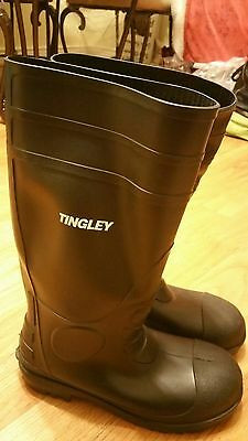TINGLEY RUBBER STEEL-TOE BOOTS, BLACK PVC, 15-In., MEN'S SIZE 10
