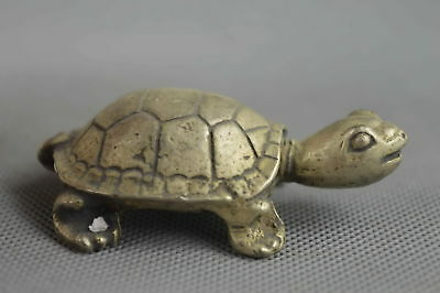 Collection Decorative Handmade Miao Silver Carve Special tortoise Noble Statue