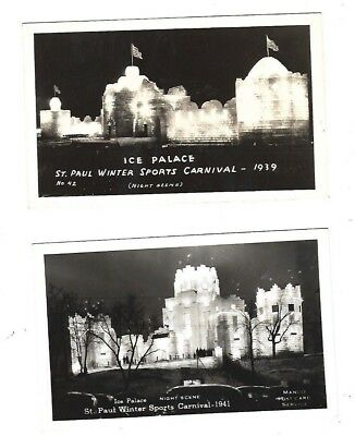 Rppc -2 Cards-Ice Palace,st. Paul Sports Carnival 1939-& Night Scene 1941. Minn.