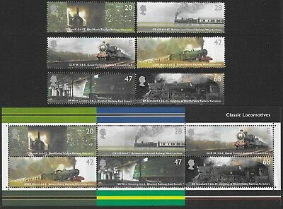 "Gb. 2004. Ms2423. ""classic Locomotives"". 1 Set Of 6 Stamps + 1 Mini Sheet. Mnh."