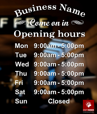 Opening Times Sign Custom Business Retail Shop Cafe Open Hours Window Sticker