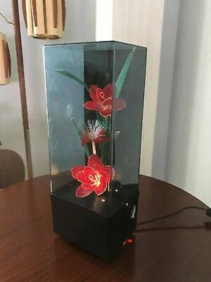 Vintage Fiber Optic Flowers Music Box Light Lamp Changing Colors MCM With Box