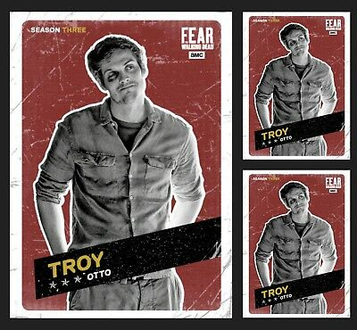 3x TROY OTTO-FEAR CHALLENGERS MARATHON-RED-TOPPS WALKING DEAD CARD TRADER
