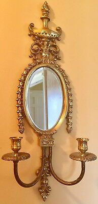 """Antique FRENCH LOUIS XVI Mirrored Wall Sconce BRASS & METAL Double Arm 23.5"""""""