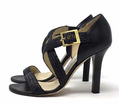 52e3d05f6bf JIMMY CHOO Braided Leather Sandals Heel Strappy Black Size 7.5 (US) 37.5 (EU