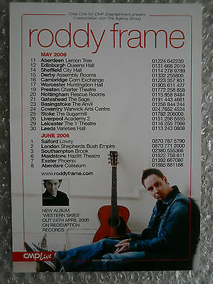 Roddy Frame  Western Skies A5 Tour Flyer From 2006 Mint Aztec Camera