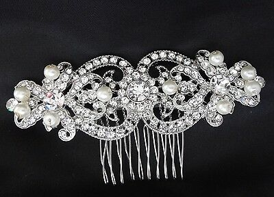 Bridal Rhinestones Crystal Diamante Vintage Pearls Wedding Hair Comb Headpiece