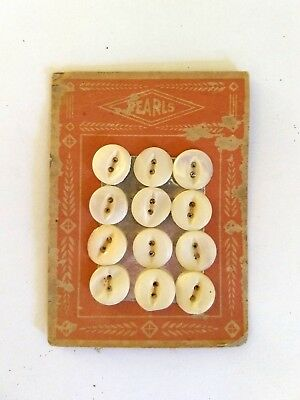 """12 Vintage Mother Pearl Shell Buttons PEARLS Card Craft Two Hole 7/16""""-1/2"""" Lot"""