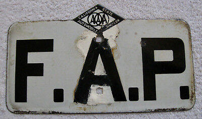 """1930's Porcelain F.A.P. """"Federal Aid Primary"""" AAA Road Sign CSAA"""