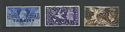 "1948/1949 George VI GB Stamps Overprinted ""Tangier"" Used Part Set 3 stamps Used"