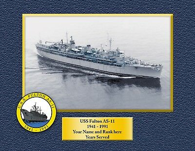 USS FULTON AS 11 Custom Personalized Print of US Navy Gift Idea