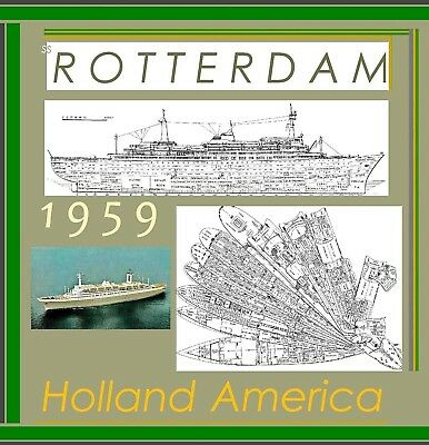 ss ROTTERDAM 1959 Holland America Line: Complete Retractable Deck Plans +Profile