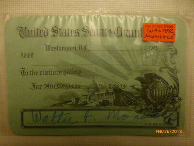 """Visitor's pass to attend the """"US Senate"""" issued by Senator  Walter Mondale"""