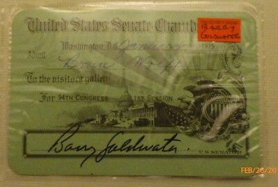 """Visitor's pass to attend the """"US Senate"""" issued by Senator  Barry Goldwater"""