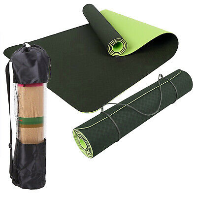 TPE Yoga Mat Eco Friendly Dual Layer Non Slip WITH Carry Bag&Strap 183 x 61