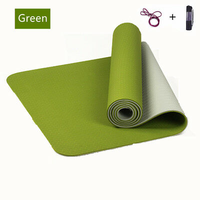 TPE Yoga Mat Eco Friendly Dual Layer Non Slip WITH Carry Bag&Strap 183 x 61 GRN