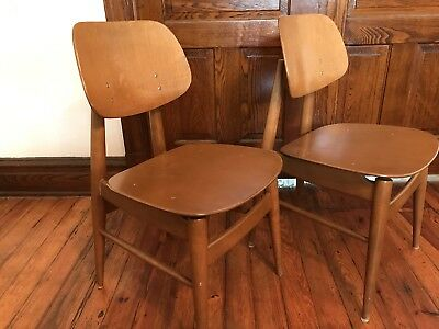 "2 Vintage 50s Mid Century Modern Thonet/Bentwood New York Chairs 32"" Total Heigh"