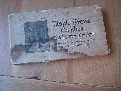 1920 vtg Maple Grove Candies St Johnsbury Vermont MAPLE CANDY BOX syrup sugar VT