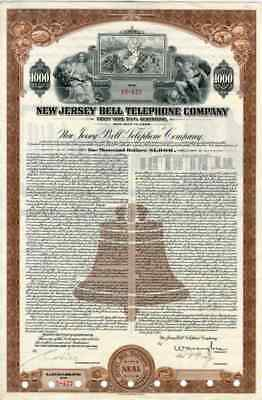 1948 New Jersey Bell Telephone Co Bond Certificate