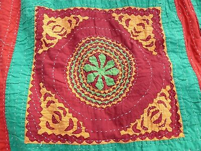 """Old Estate Found Hawaiian Style Old Quilt Top Very Colorful Approx. 100"""" X 80"""""""