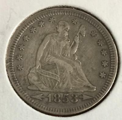 1853 US Seated LIBERTY SILVER Quarter! Extra Fine! Old US Coin!
